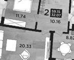 2-комнатная квартира, 60 кв.м., 3/13 этаж, новостройка
